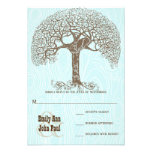 Brown Swirl Tree Aqua Woodgrain Wedding RSVP Custom Announcements