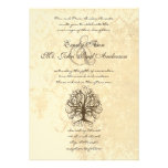 Brown Swirl Tree Distressed Damask Announcements