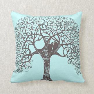 Brown Swirl Tree Love Bird-choose background color Throw Pillow