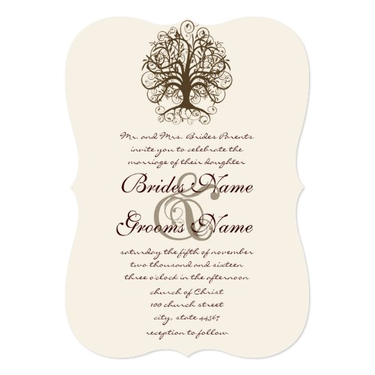 Brown Swirl Tree Roots of Love Wedding Invitation