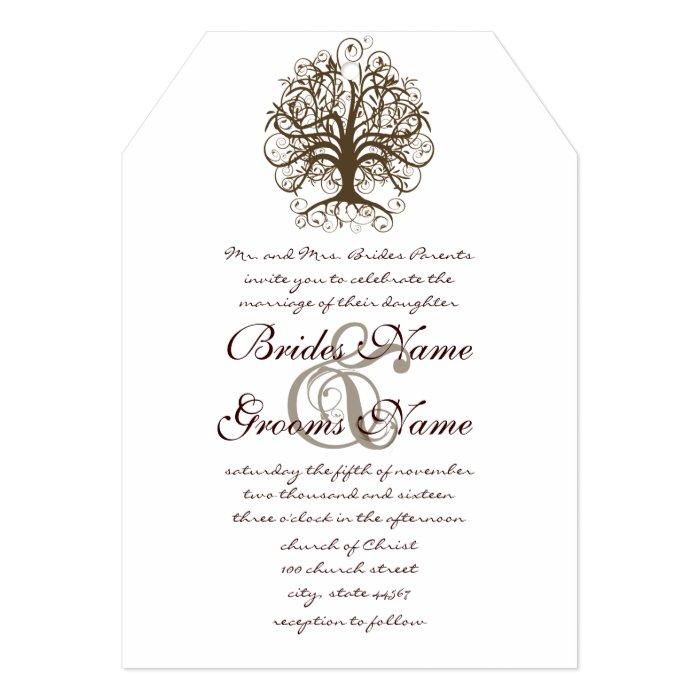 Brown Swirl Tree Roots of Love Wedding Invitation