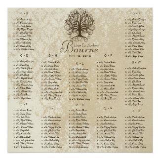 Brown Swirl Tree Seating Chart 12 Tables