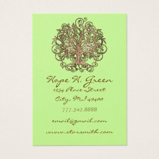 Brown Swirled Tree on Green Business Card