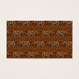 Brown Swirling Elephant Pattern Business Card