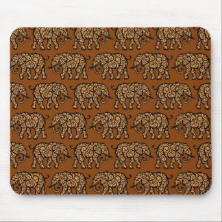 Brown Swirling Elephant Pattern Mouse Pads