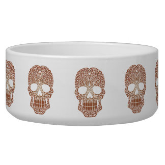 Brown Swirling Sugar Skull Bowl
