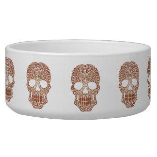Brown Swirling Sugar Skull Dog Bowl