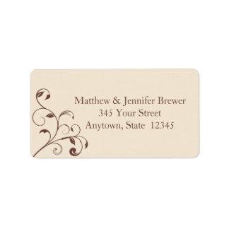 Brown Swirls and Curls Envelope Address Labels