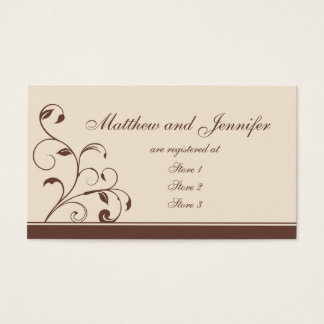 Brown Swirls and Curls Wedding Gift Registry Cards