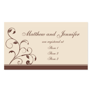 Brown Swirls and Curls Wedding Gift Registry Cards Business Card Template