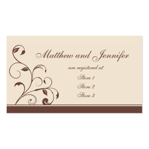 Wedding Gift Off Registry : Brown Swirls and Curls Wedding Gift Registry Cards Business Card ...