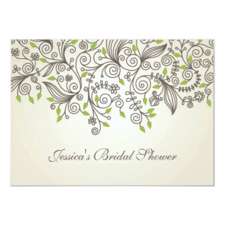 Brown swirls and green leaves Bridal Shower Card