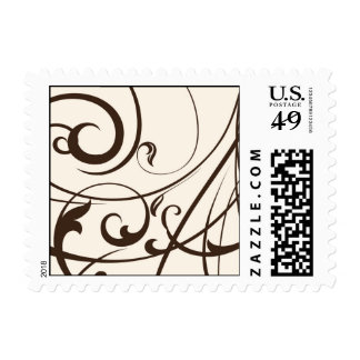 Brown swirls and plumes postage