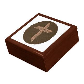 Brown Swirls Cross Keepsake Box