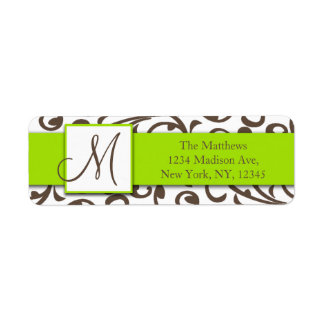 Brown Swirls Damask Green Return Address Labels