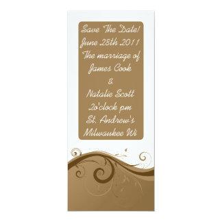"Brown Swirls ""Save the Date"" invite 4"" X 9.25"" Invitation Card"