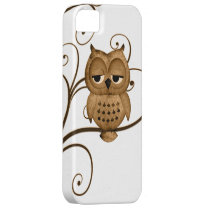 Brown Swirly Tree Owl iPhone 5 Case