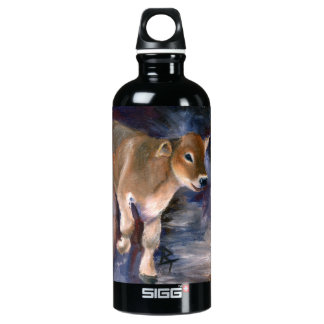 Brown Swiss Calf Aluminum Water Bottle