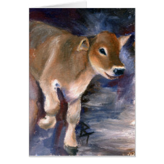 Brown Swiss Calf Blank Card