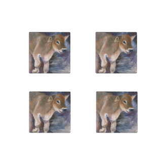 Brown Swiss Calf Stone Magnet