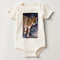 Brown Swiss Calf Infant Creeper