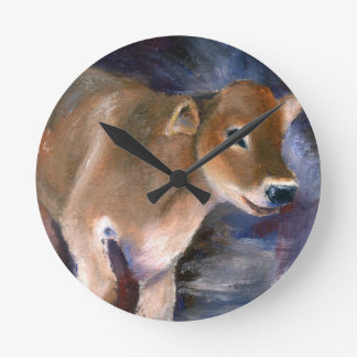 Brown Swiss Calf Wall Clock