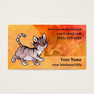 Brown Tabby Cat Business Card - Fiery Orange