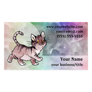 Brown Tabby Cat Business Card - Pale Rainbow