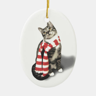 Brown Tabby Cat in a Red and White scarf Double-Sided Oval Ceramic Christmas Ornament