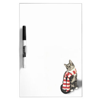 Brown Tabby Cat in a Red and White scarf Dry Erase Whiteboards