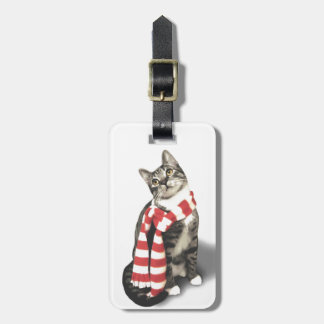 Brown Tabby Cat in a Red and White scarf Tag For Luggage