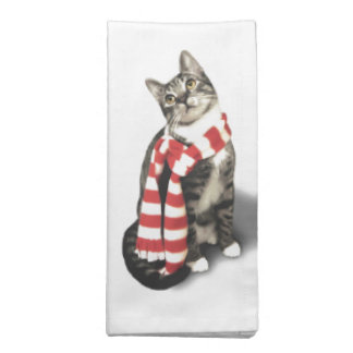 Brown Tabby Cat in a Red and White scarf Printed Napkins