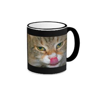 Brown Tabby Cat Licking Nose Ringer Mug