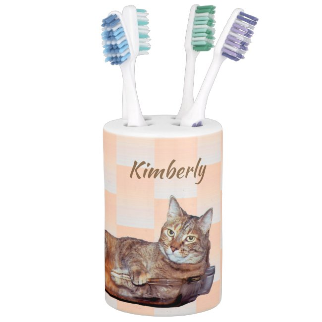 Brown Tabby Cat Orange Bathroom Set