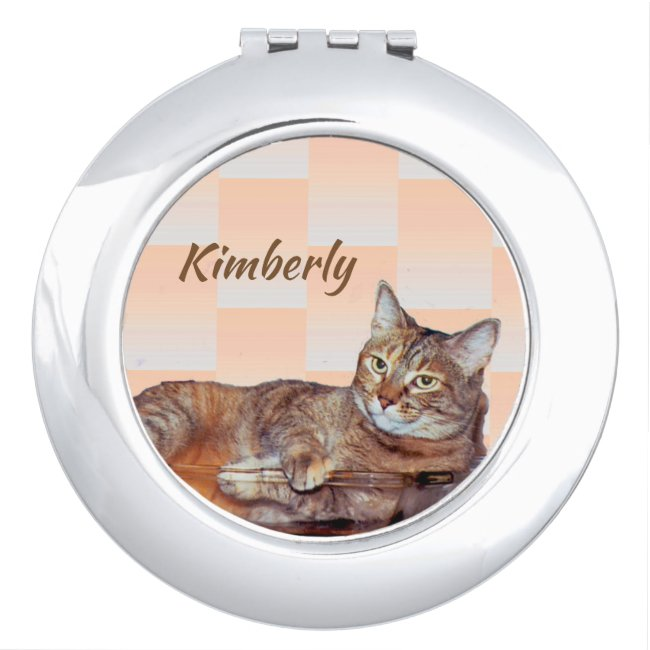 Brown Tabby Cat Orange Pattern Compact Mirror