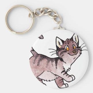 Brown Tabby Kitty Keychain