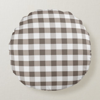 Brown Table Cloth Pattern Round Pillow