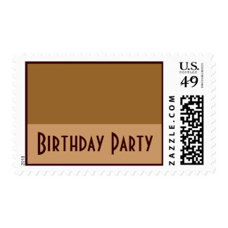 Brown Tan  Birthday Party Postage Stamps