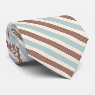 Brown Tan Blue Stripes Tie