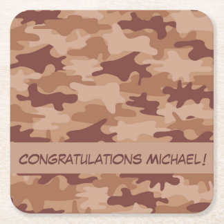 Brown Tan Camo Camouflage Congratulations Name Square Paper Coaster
