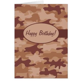 Brown Tan Camo Camouflage Happy Birthday Custom Card