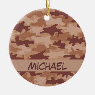 Brown Tan Camo Camouflage Name Personalized Ceramic Ornament