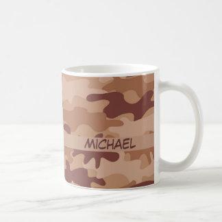 Brown Tan Camo Camouflage Name Personalized Coffee Mug