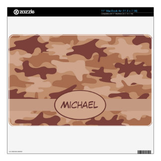 Brown Tan Camo Camouflage Name Personalized Decal For The MacBook