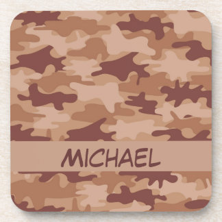 Brown Tan Camo Camouflage Name Personalized Drink Coaster