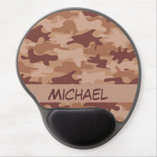 Brown Tan Camo Camouflage Name Personalized Gel Mouse Pad