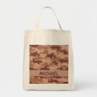 Brown Tan Camo Camouflage Name Personalized Grocery Tote Bag