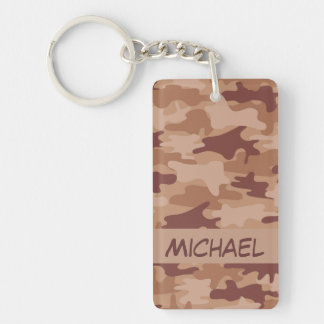 Brown Tan Camo Camouflage Name Personalized Keychain