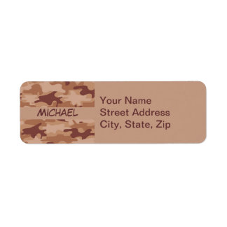 Brown Tan Camo Camouflage Name Personalized Return Address Label