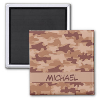 Brown Tan Camo Camouflage Name Personalized Fridge Magnet
